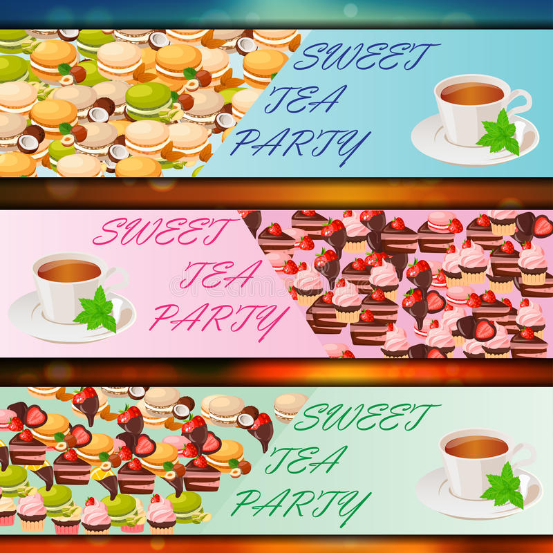 Banner set with sweets. Very high quality original trendy vector banner set with sweets and cup of tea royalty free illustration