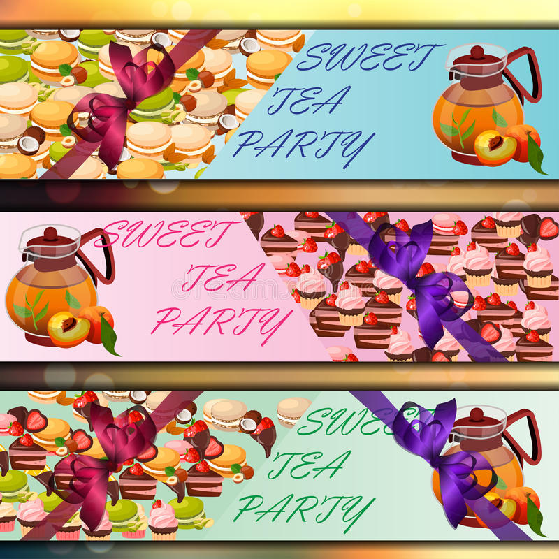 Banner set with sweets. Very high quality original trendy vector banner set with sweets and teapot stock illustration