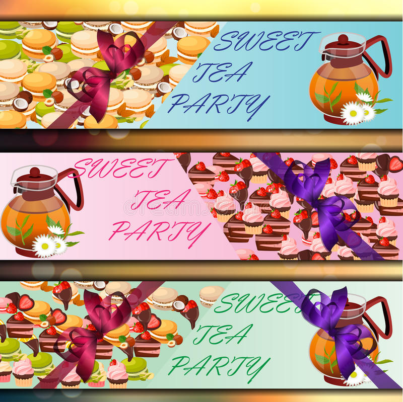 Banner set with sweets. Very high quality original trendy vector banner set with sweets and teapot vector illustration