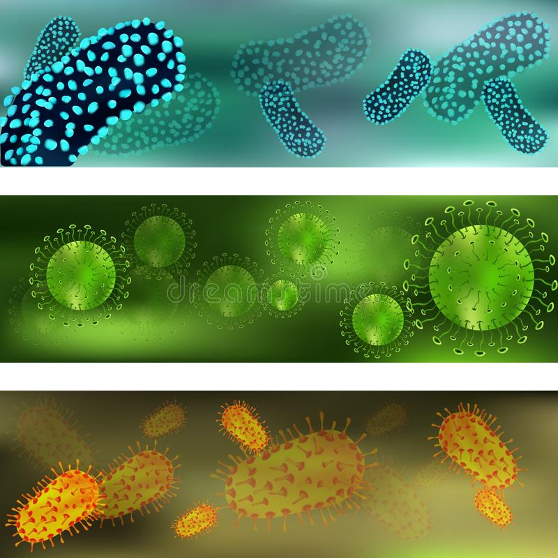 Banner with a set of viruses and bacteria. Viruses and bacteria under the microscope. Bacterial virus, microbial cells vector illustration