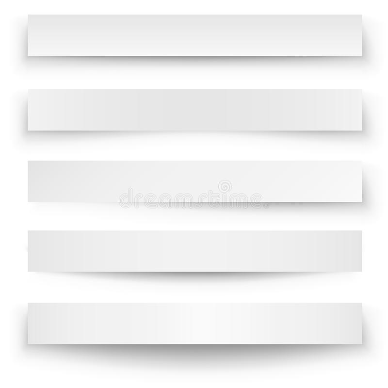 Banner shadow template. Header blank web banner shadow template on white background