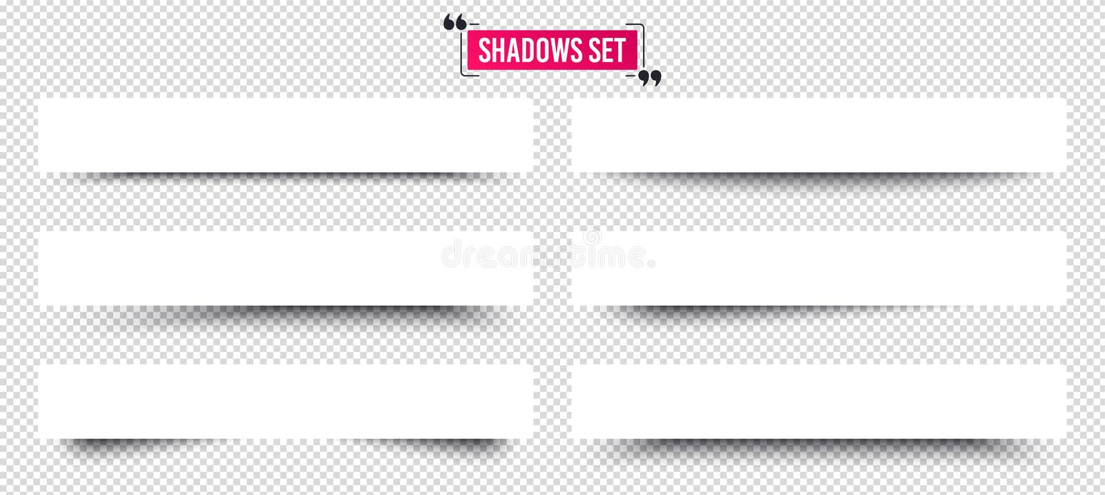 Banner shadows set. Page dividers on transparent background. Realistic shadow template. Vector. Banner shadows set. Page dividers on transparent background vector illustration