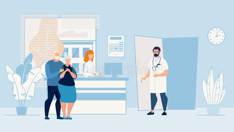 Banner Sick Elderly Couple who in Doctors Office. Banner Sick Elderly Couple Patients Husband and Wife, are in Doctors Office. Husband Gently Hugs his Beloved royalty free illustration