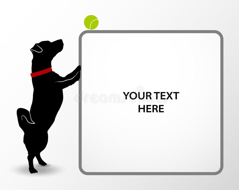Banner with Silhouette of cute small dog jack russell terrier playing with tennis ball. Playful active pet. Puppy looking on green royalty free illustration
