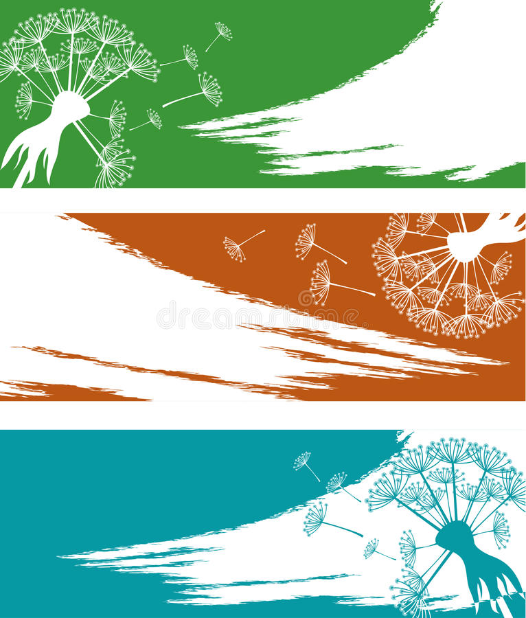 Banner set with dandelion