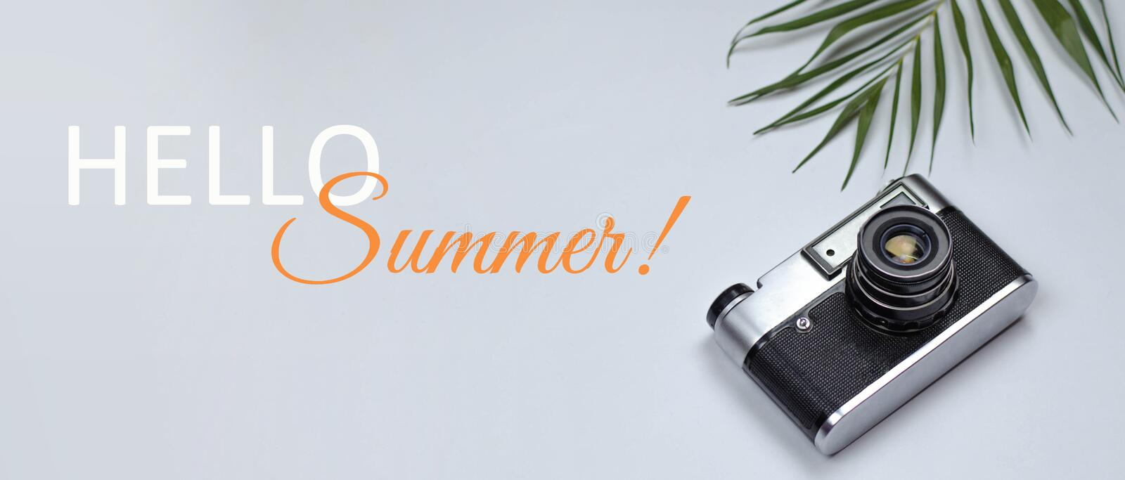 Banner for the site hello summer with a camera and a branch of palm trees royalty free stock image