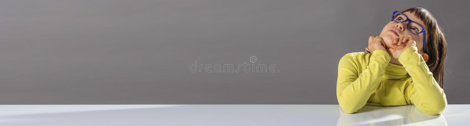 Banner of smart childhood and beautiful open-mindness, copy space royalty free stock photo