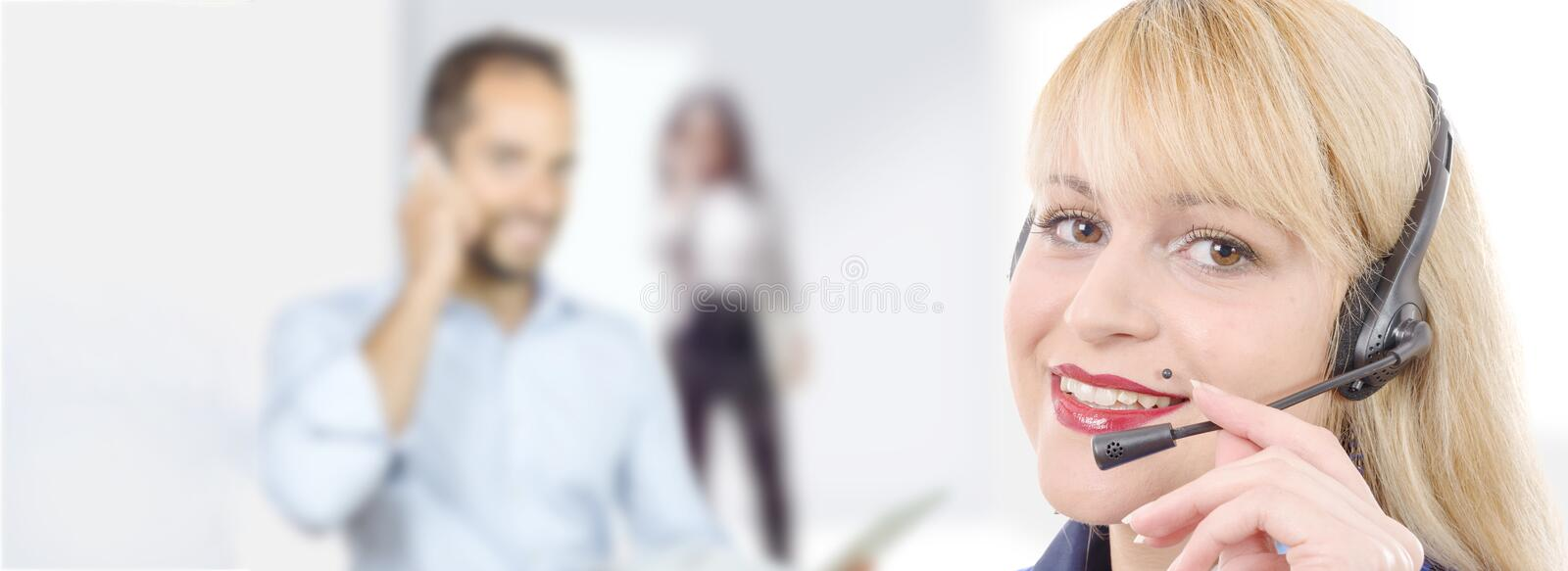Banner of smiling cheerful  support phone operator in headset royalty free stock image