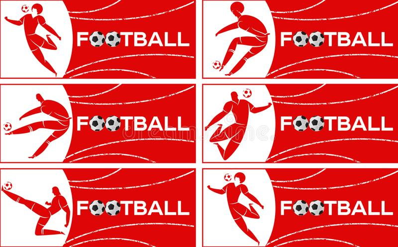 Banner with soccer player. Lettering Football with two ball. Football player in campionship. Fool color vector illustration in flat style isolated on white stock images