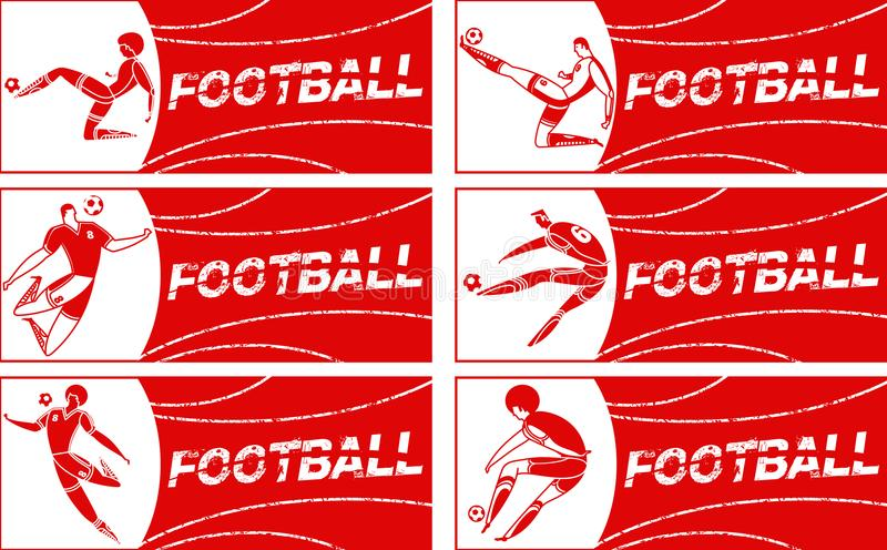 Banner with soccer player. Lettering Football with two ball. Football player in campionship. Fool color vector illustration in flat style isolated on white royalty free stock images