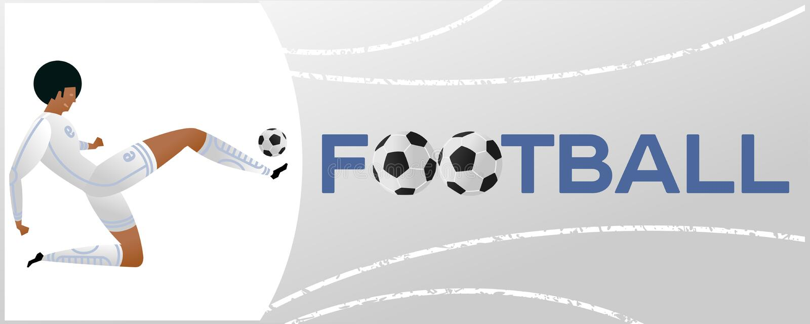 Banner with soccer player. Lettering Football with two ball. Football player in campionship. Fool color vector illustration in flat style isolated on white vector illustration