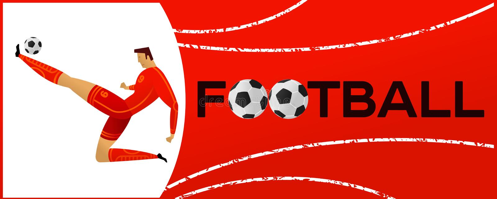 Banner with soccer player royalty free illustration