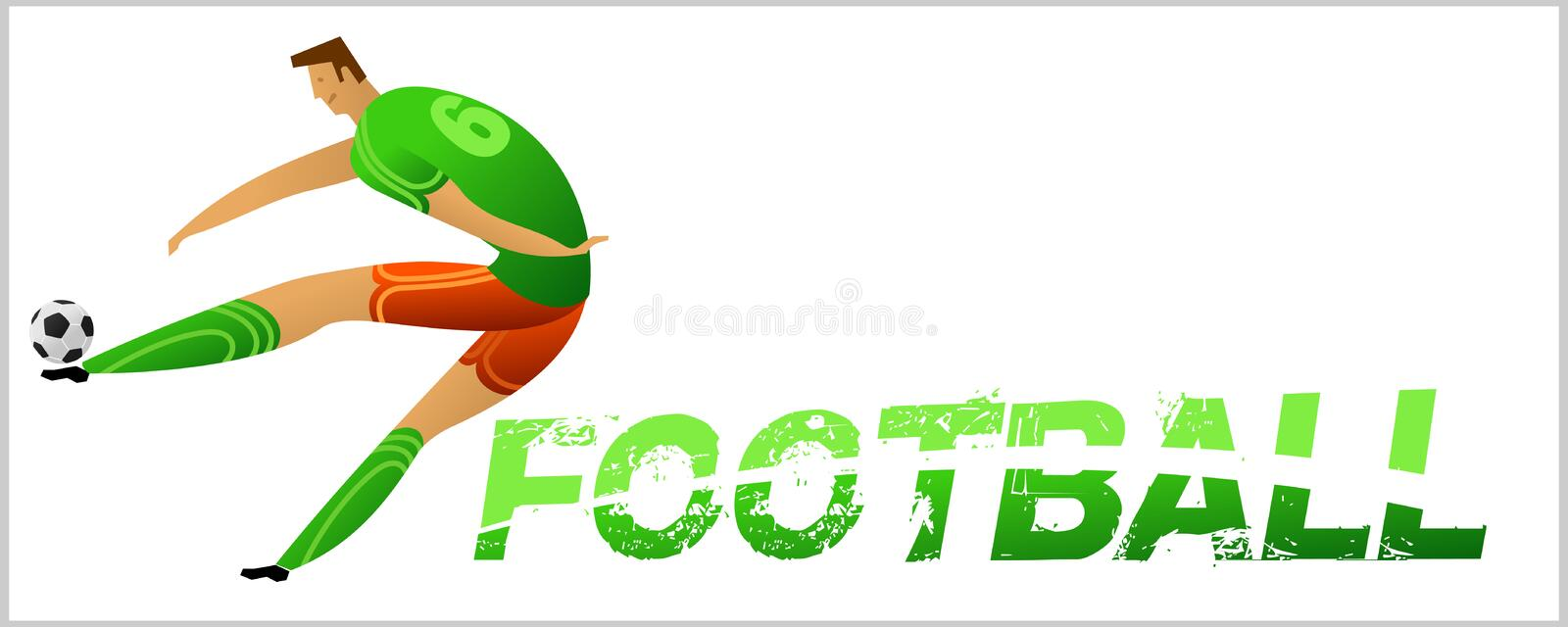 Banner with soccer player. Lettering Football with two ball. Football player in campionship. Fool color vector illustration in flat style isolated on white stock illustration