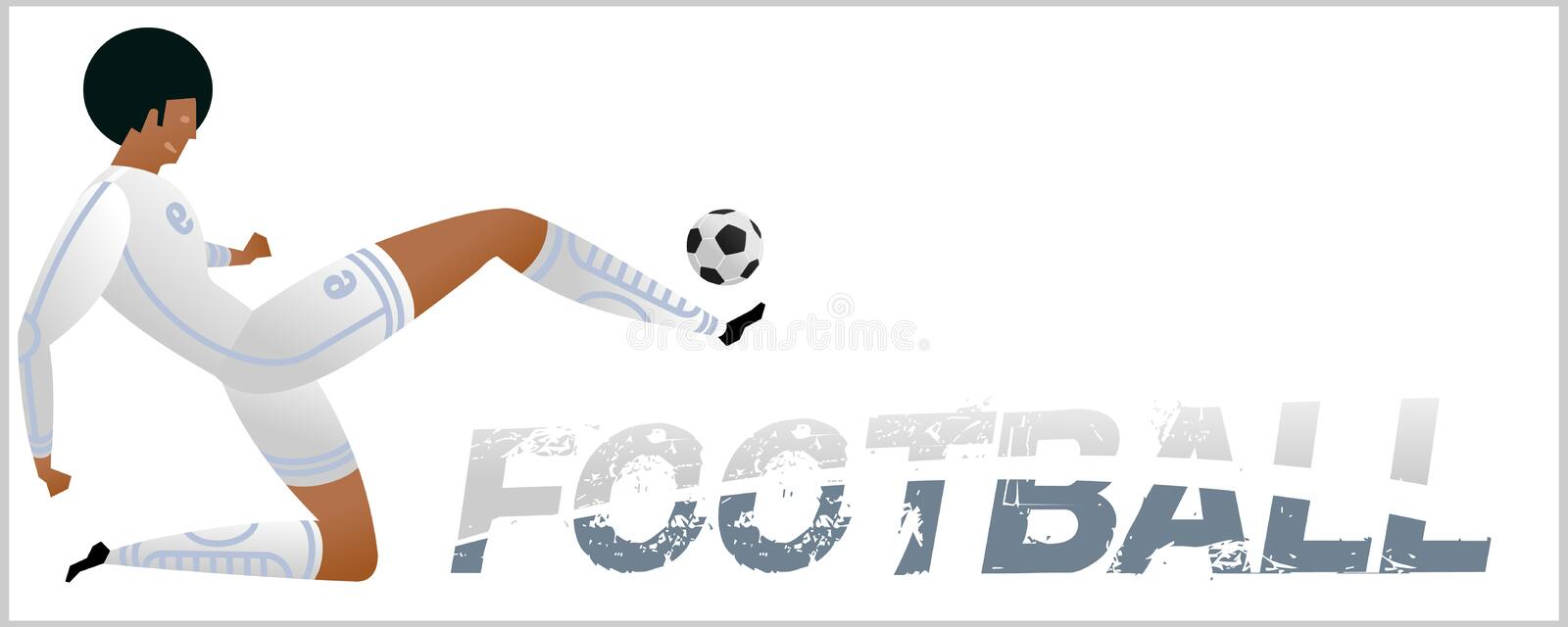 Banner with soccer player. Lettering Football with two ball. Football player in campionship. Fool color vector illustration in flat style isolated on white royalty free illustration