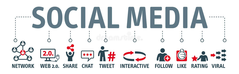 Banner social media. Icons and Keywords royalty free illustration
