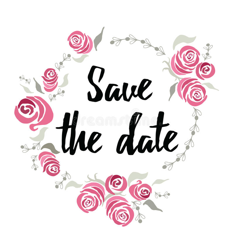 Banner sparen de datum bij inkthand het van letters voorzien met abstracte bloemen wordt gemaakt die Rozenkader rond tekst Ontwer vector illustratie