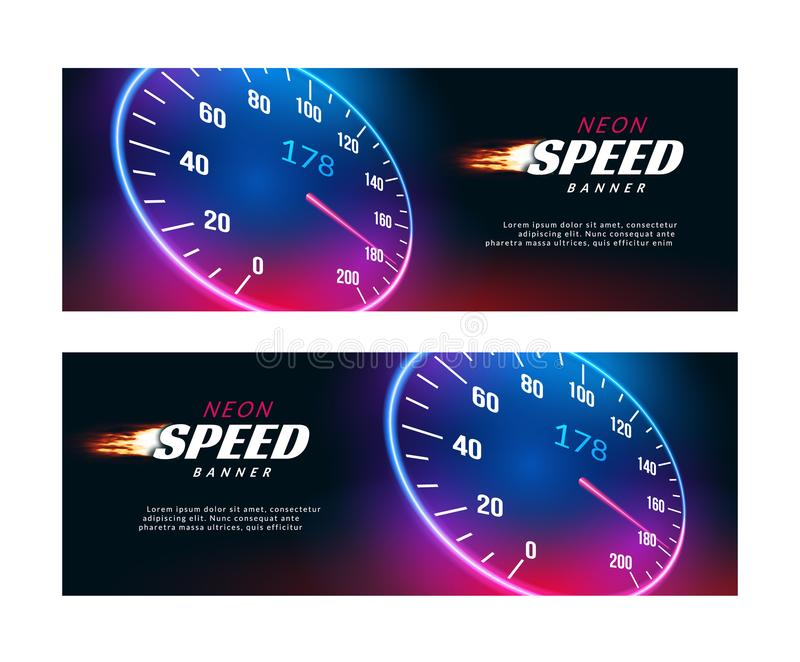 Banner speed car. Speedometer fast action poster or flyer design stock illustration