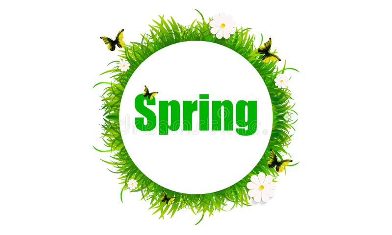 Banner banner with spring grass and flowers stock illustration