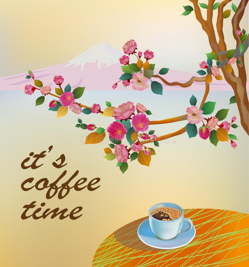 Banner spring leaves blooming cherry blossom. Coffee on the table in the spring. Time to drink coffee stock illustration