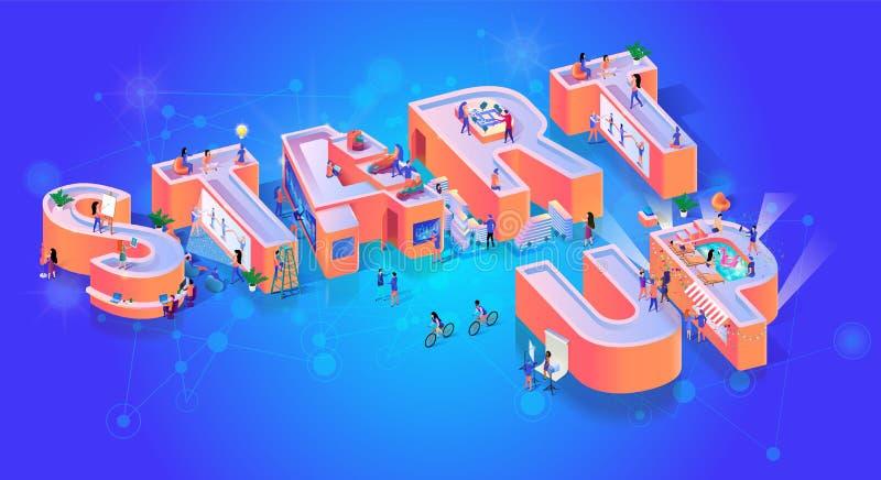 Banner start de Creatieve van de Bedrijfslanceringstypografie vector illustratie