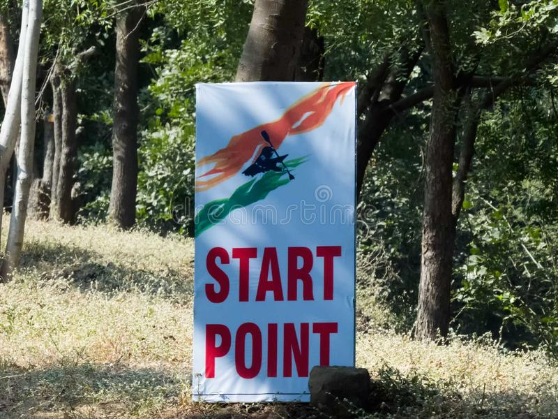 Banner of Start Point of Boat Race. stock images