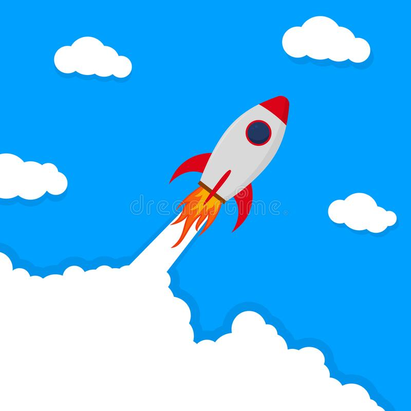 Banner with startup rocket.Launch rocket vector background. Shuttle in space. vector royalty free illustration