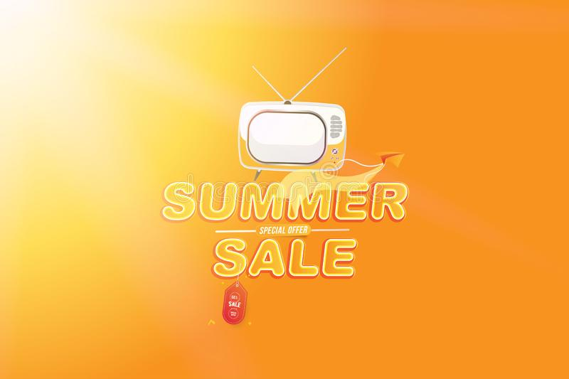 Banner Summer Sale 50 offer. Font inscription with paper airplane and TV screen. Flat Vector Illustration EPS10.  vector illustration