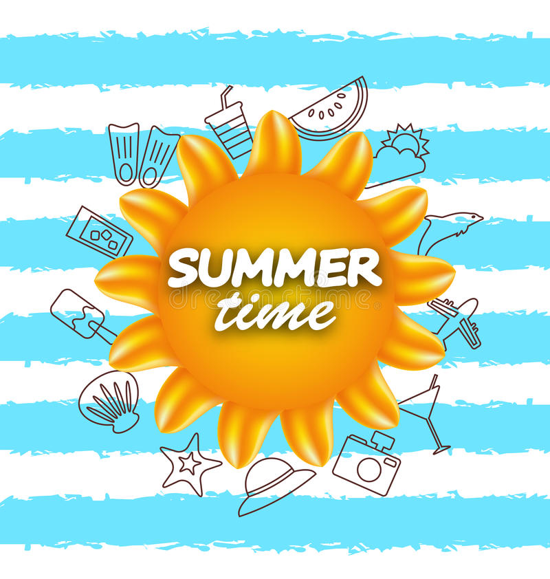 Banner for Summer Time .Vacation Background with Hand Drawing Elements vector illustration