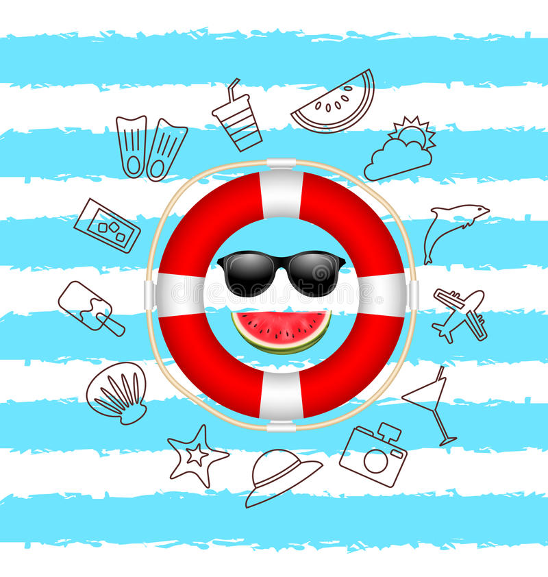 Banner for Summer Time .Vacation Background with Hand Drawing Elements stock illustration