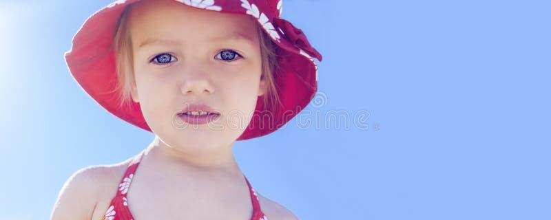 Banner summer vacation beautiful child girl stock photo