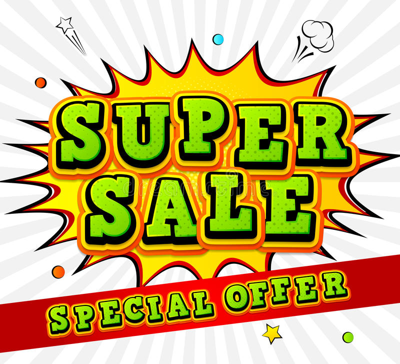 Banner super sale, discount. Pop Art Style, comic book royalty free illustration