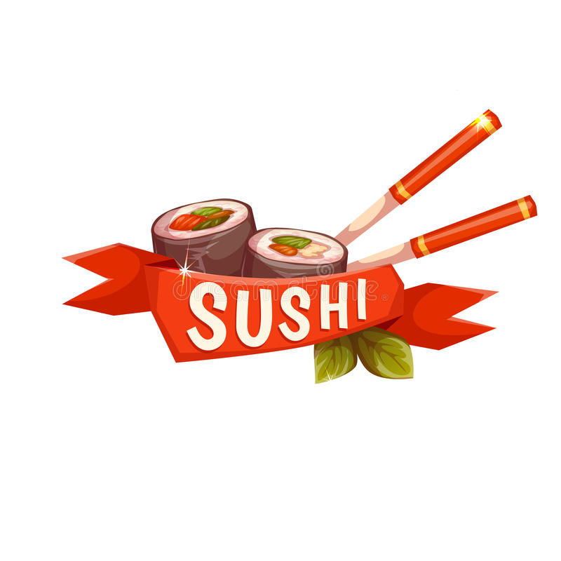 Banner Sushi with chopstick and ribbon. Vector vector illustration