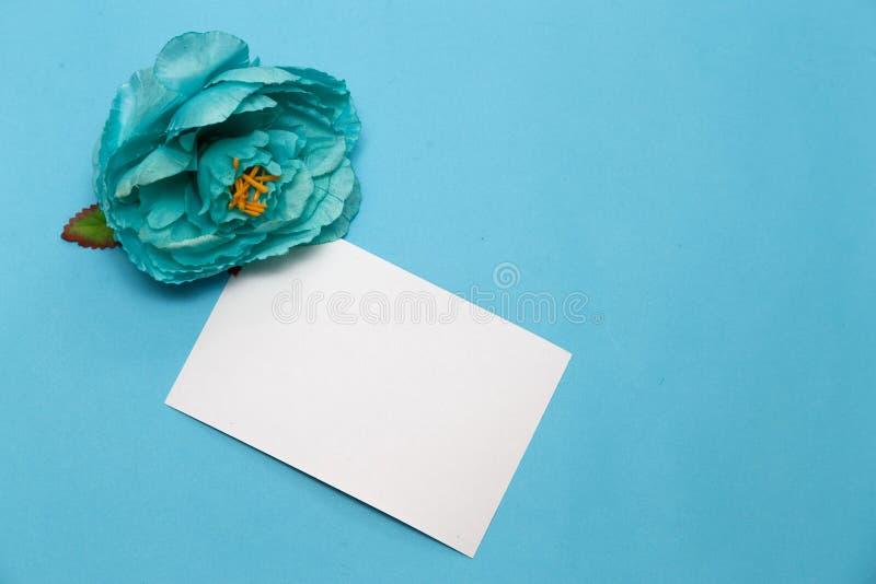 banner t?a kwiaty form r??owego spiral? troch? kwiaty, notatnik na mlecznoniebieskim tle zdjęcia stock