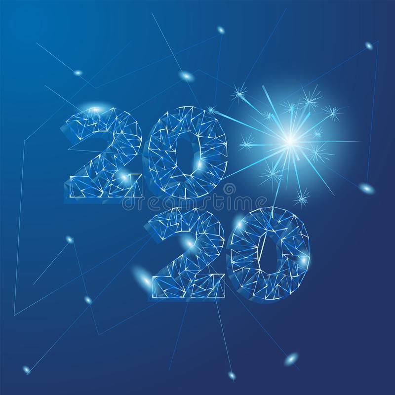 2020 banner in technology, abstract concept. futuristic style. sparkler geometric urban design with sparkle particles in. Blue . vector illustration royalty free illustration