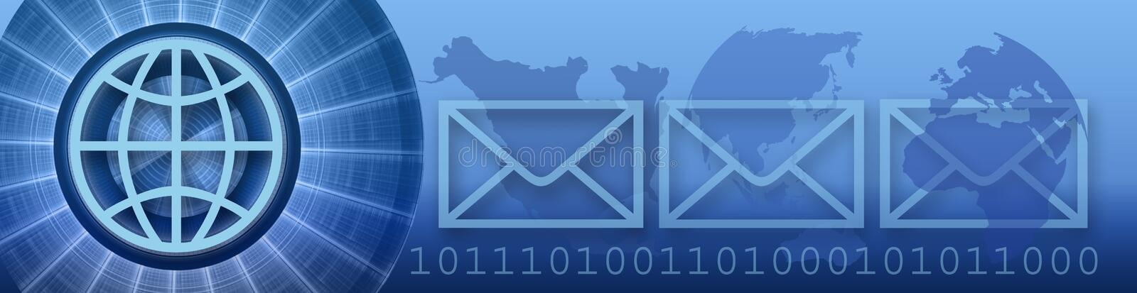 Banner Technology and WW Internet. The creative circle, globe (symbol), four continents, e-mail envelopes and binary codes are symbolic for Technology and e-mail vector illustration