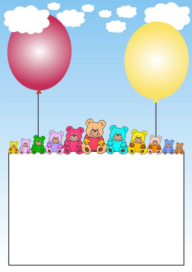 Download Banner With Teddies On Balloons Stock Vector - Image: 11682364