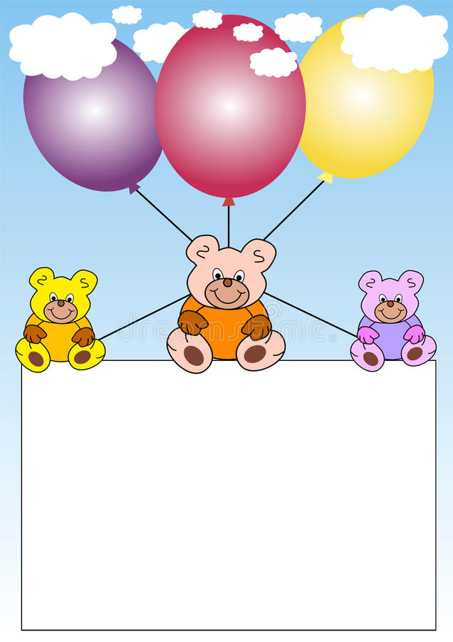 Banner With Teddies On Balloons Royalty Free Stock Images