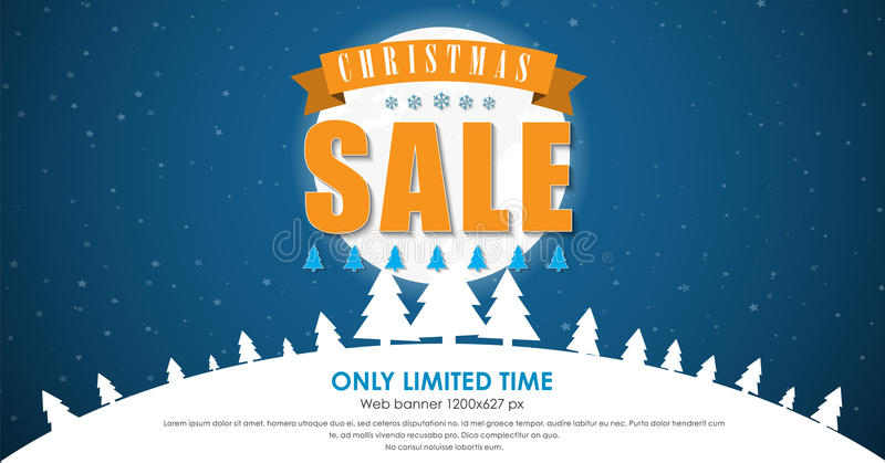 Banner template background for Christmas sales vector illustration