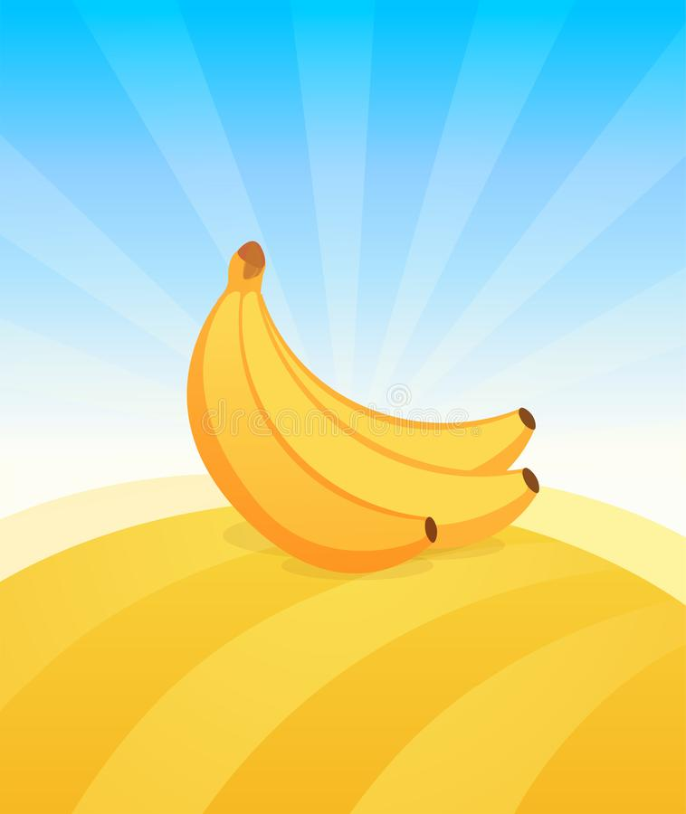 Banner template with Banana. Ads Poster with copy space on top and bottom area. Symbol of juicy Fruit under blue sky. Colorful vector illustration stock illustration