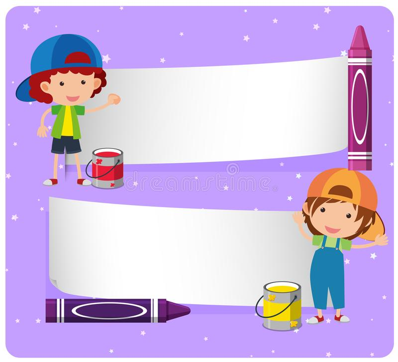 Banner template with boys and crayons royalty free illustration