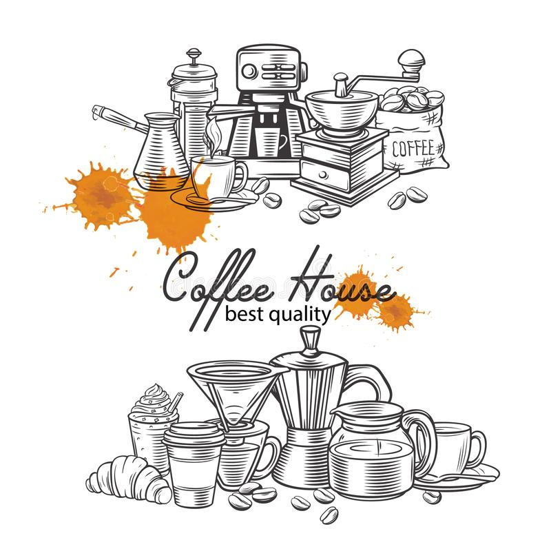 Banner template coffee page design stock illustration