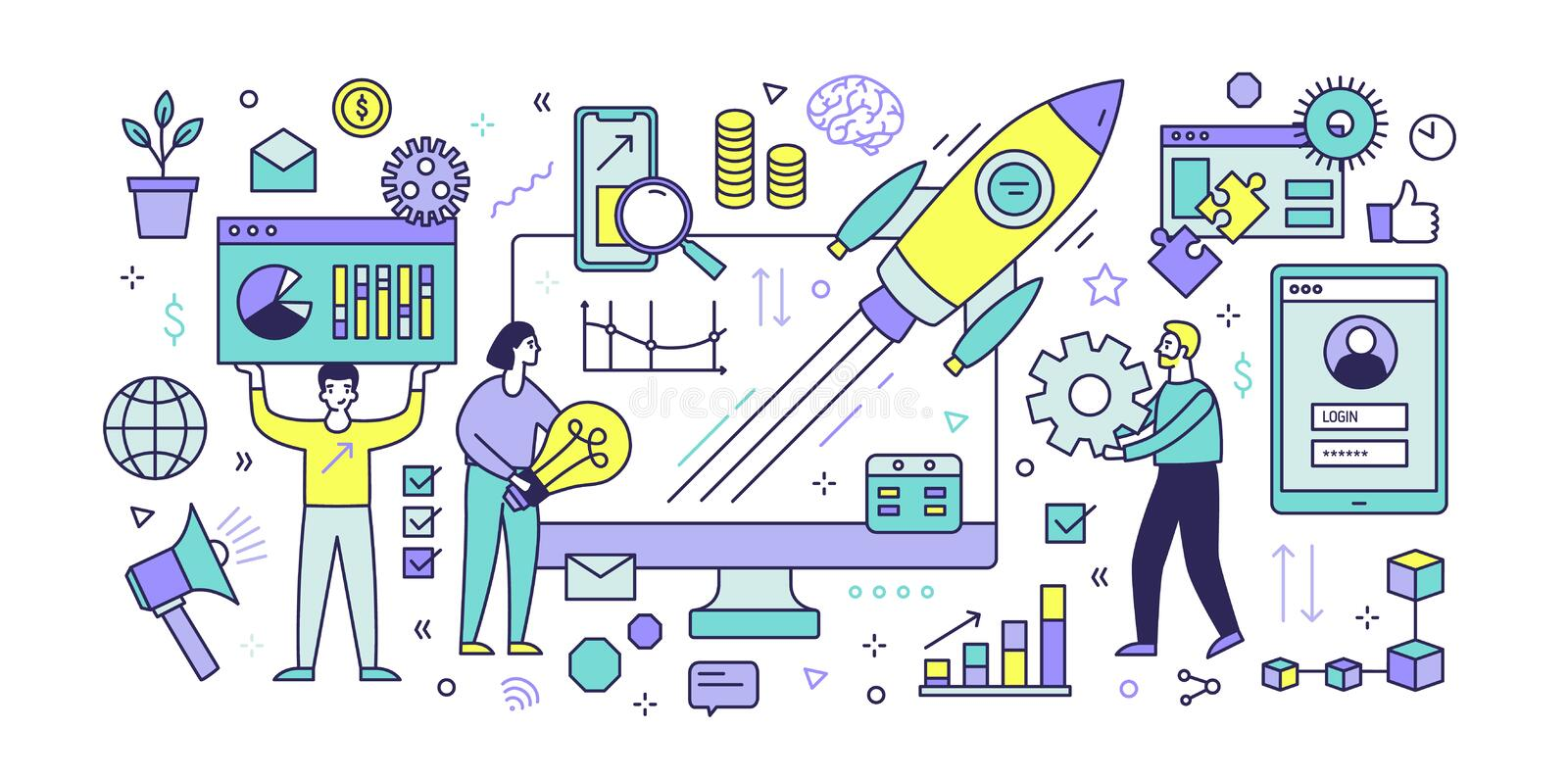 Banner template with computer display, diagrams, charts, graphs, flying spaceship and people working together under. Digital startup project launch. Modern stock illustration