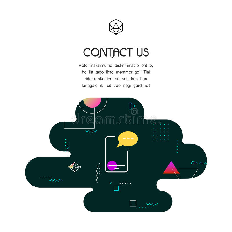 Banner Template with Contact Us icon and text royalty free illustration