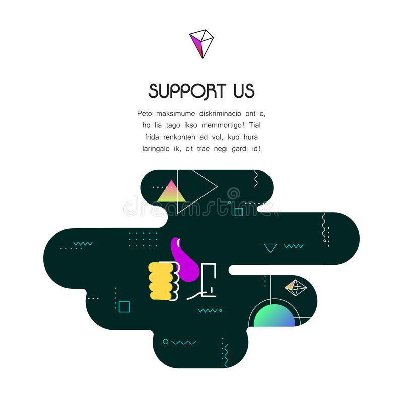 Banner Template with Donation and Support Us icon and text royalty free illustration