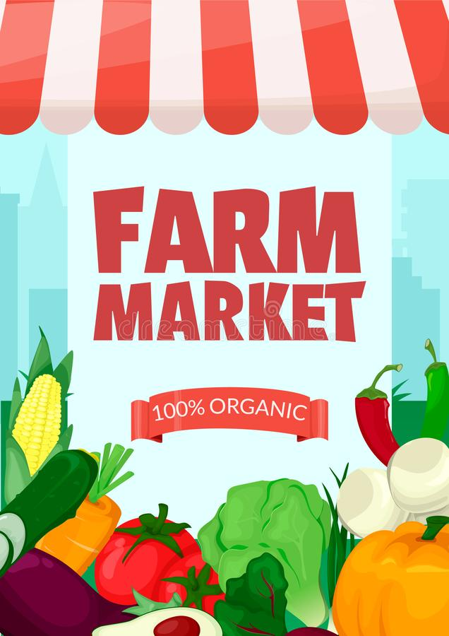 Banner template for farmers market.Eco organic Local shop. Selling fruit and vegetables. Produce stands.Cartoon style vector vector illustration
