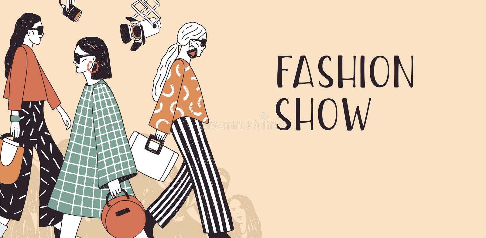 Banner template for fashion show with top models wearing trendy seasonal clothes walking along runway or doing catwalk stock illustration