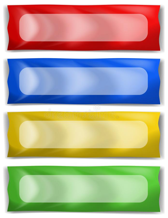 Banner template in four different colors stock illustration