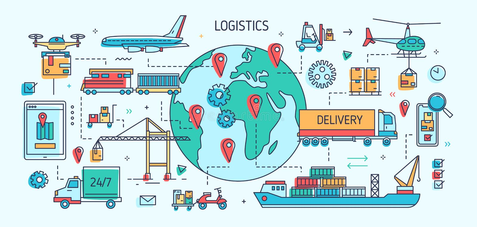 Banner template with freight vehicles and vessels carrying goods. Cargo transportation, international trade and delivery. Worldwide shipment. Colorful vector vector illustration