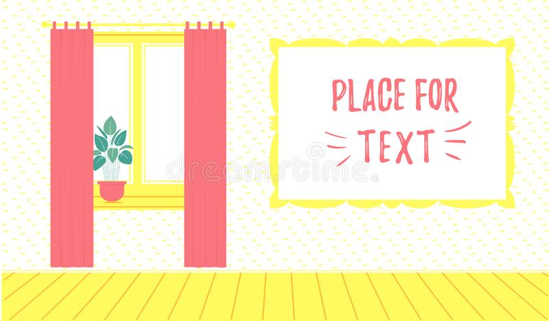 Banner template for hotel or apartments. Room inside. Window with curtains and flower pot on the windowsill. Vector illustration stock illustration