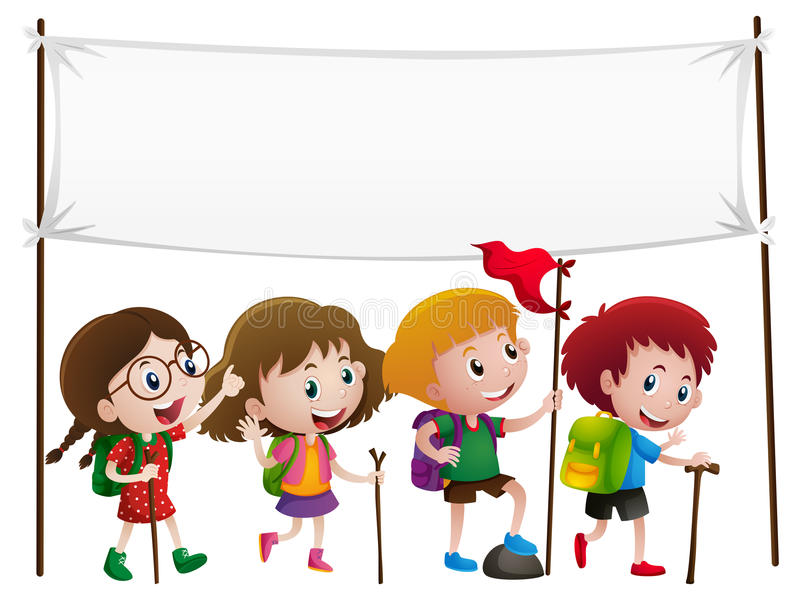 Banner template with kids hiking stock illustration